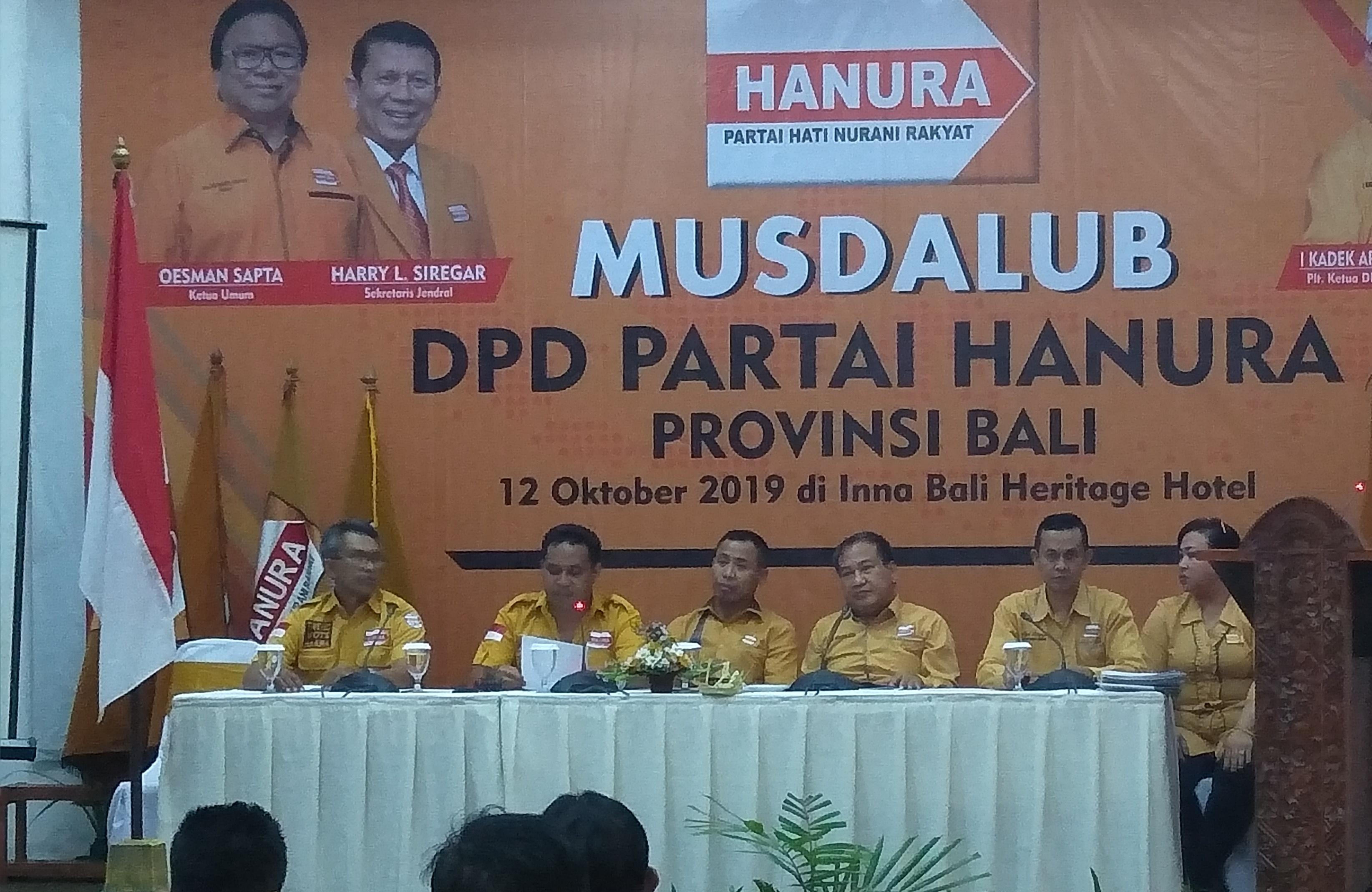 """Musdalub Partai Hanura Bali Tetapkan """"Lolak"""" Jadi Ketua DPD Gantikan Sudarta"""