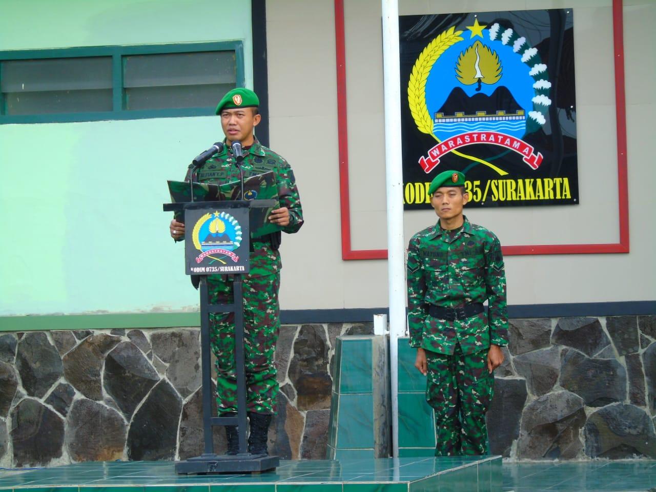 Kodim Solo Awali Minggu Militer Dengan Upacara Bendera, Ini Maknanya